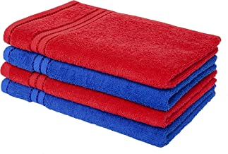 Homely 100% Cotton 4 Piece Hand Towel Set, 60 x 40 cm, 400 GSM, Red and Blue