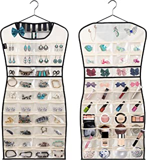 MISSLO Hanging Jewelry Organizer 80 Clear Pockets & 7 Hook Loops Storage for Storing Jewelries, Earrings, Necklaces, Makeu...