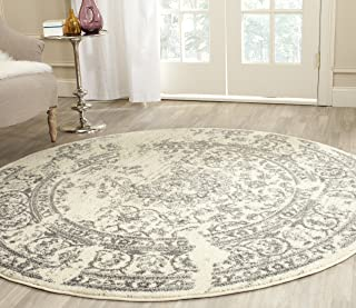 Safavieh Adirondack Collection ADR101B Ivory and Silver Oriental Vintage Distressed Round Area Rug (10' Diameter)