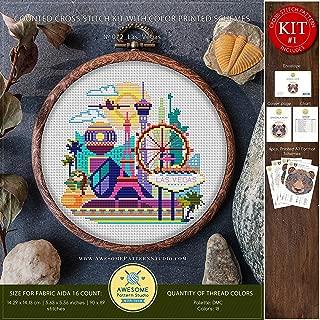 Las Vegas #K072 Embroidery Cross Stitch Kit   Skyview Cross Stitch Patterns   Embroidery Kits   City Needlepoint   Cross Stitch Embroidery