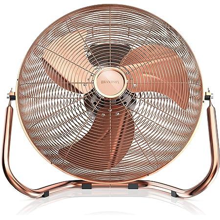 Brandson - 48 W Ventilateur en Design rétro Chrome | 38,5 cm de diamètre | Trois Vitesses Low - Medium - High | Débit d'air élevé | Tête du Ventilateur réglable | Métal Solide | Cuivre