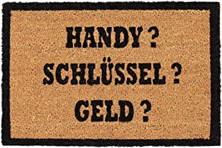 Relaxdays0023845 Felpudo Antideslizante «Handy Schlüssel Geld», 40 X 60 Cm, Marron / Negro