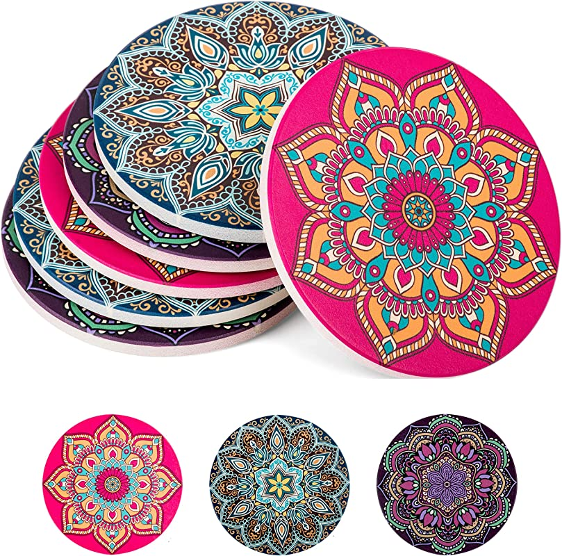 Absorbent Ceramic Stone Coasters For Drinks Mandala Drink Coaster Set With Cork Back Round Coasters And Holder Box For Home Office Bar Coffee Table Beverage Cup Mat Sets 4 Inch Set Of 6
