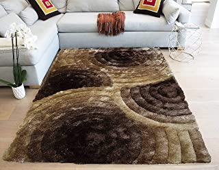 LA Shag Shaggy Woven Patterned Flokati Furry Fuzzy Fluffy Modern Contemporary Thick Plush 5-Feet-by-7-Feet Polyester Made Area Rug Carpet Rug Brown Chocolate Ivory Cream Gold Yellow Tan Colors