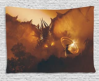 Ambesonne Fantasy Tapestry, Calling of The Dragon Magician for Evil Powers of The Universe Artwork Print, Wide Wall Hanging for Bedroom Living Room Dorm, 80