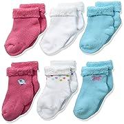 Gerber Baby Girls' 6-Pair Sock, little birdie, 0-3 Months