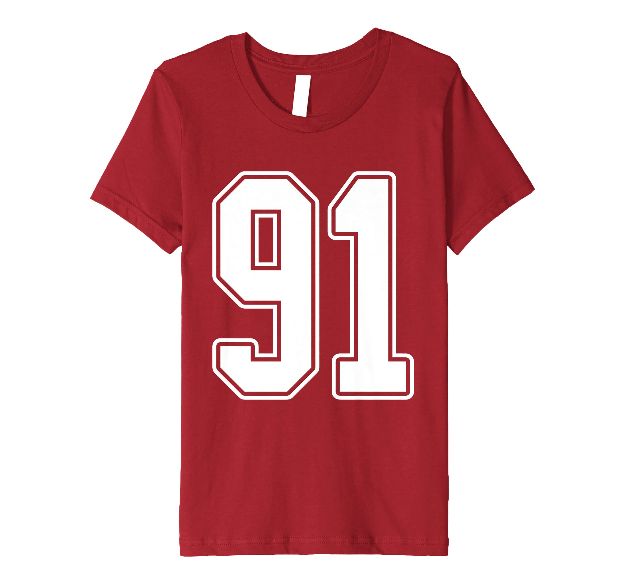 Amazon com: #91 White Outline Number 91 Sports Fan Jersey