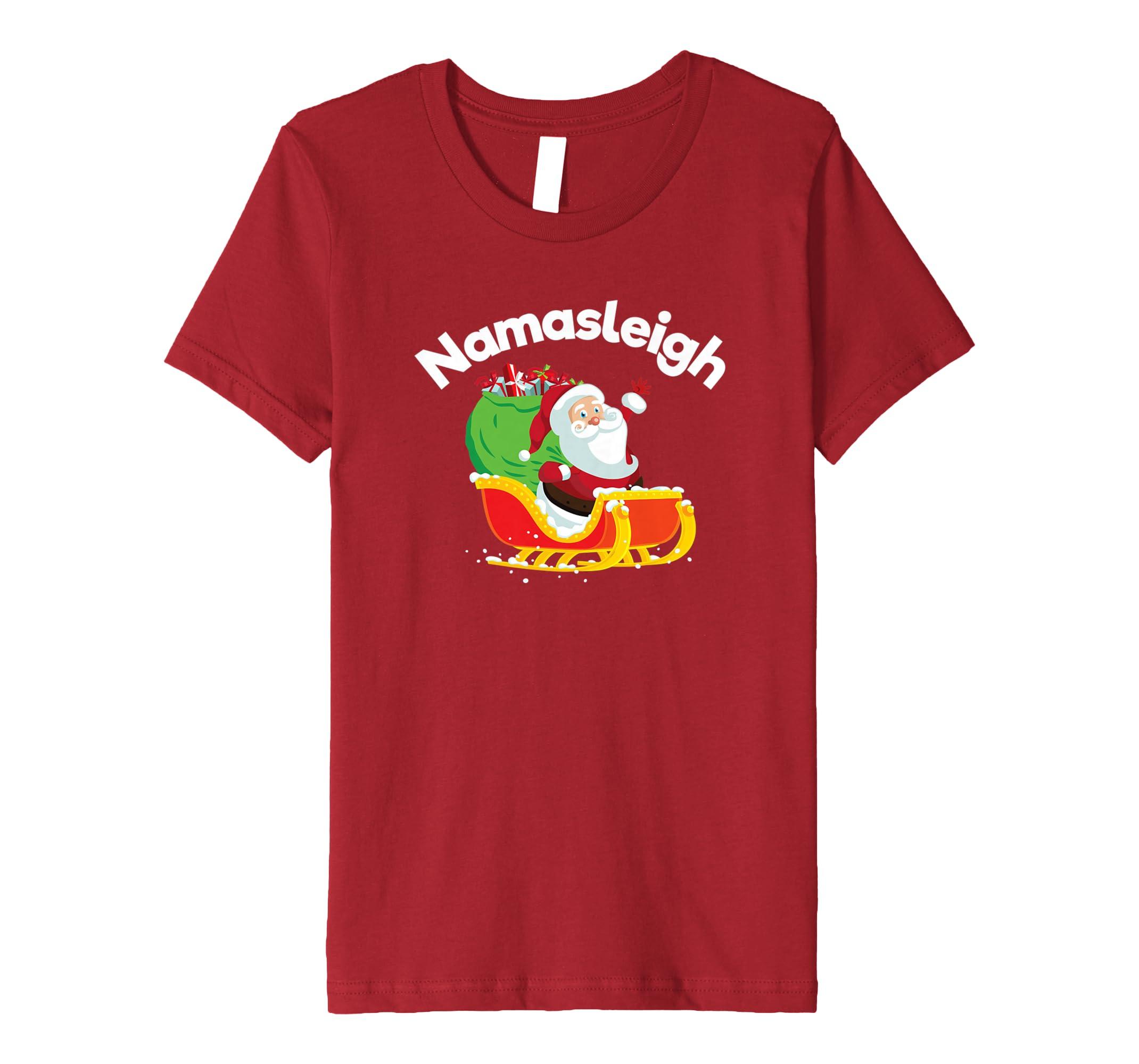 c4b2f5fbf Amazon.com: NamaSleigh Yoga Christmas Santa tshirt Funny Christmas Yoga:  Clothing