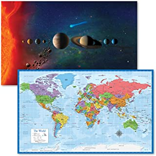 """2 Pack - Solar System Poster [Artistic] & World Map Chart [Blue Ocean] (LAMINATED, 18"""" x 29"""")"""