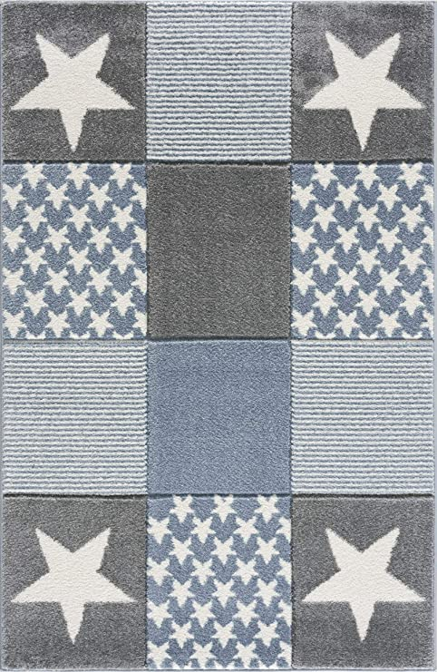 Livone Tapis pour Chambre denfant Motif /étoiles et Pois Bleu//Gris//Blanc 100 x 150 cm Bleu