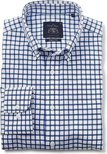 Savile Row Company Hommes's blanc bleu Twill Check Classic Fit Non-Iron Décontracté Shirt