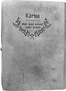 Leather Journal Writing Notebook - Genuine Leather Bound Daily Notepad for Men & Women Lined Paper 240 Kraft Pages, Handmade, Rustic Brown, 8.5 x 6.25 inches (Ash Grey)