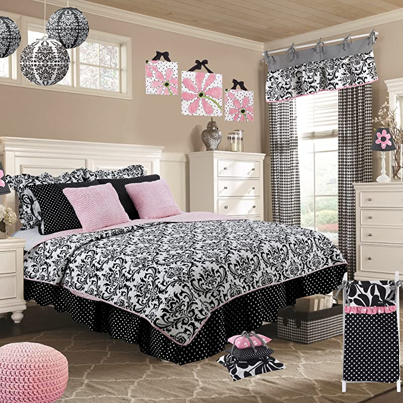 Cotton Tale Designs 100 Cotton Black White Floral Damask With Pink Zebra Animal Zoo Print Girly Full 8 Piece Reversible Quilt Bedding Set