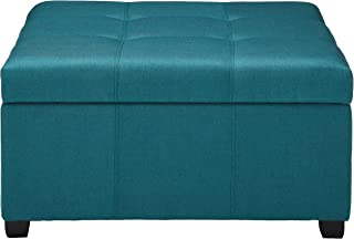 """Christopher Knight Home Living Carlyle Dark Teal Fabric Storage Ottoman, 35. 00""""D x 35. 00""""W x 18. 50""""H"""