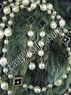 Four leaf clover pearl ball drop earrings for women