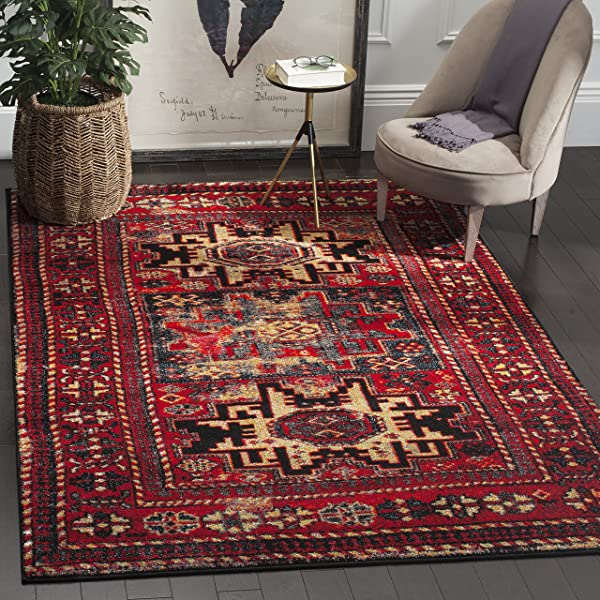 Safavieh Vintage Hamadan Collection VTH213A Antiqued Red And Multi Area Rug 6 7 X 9