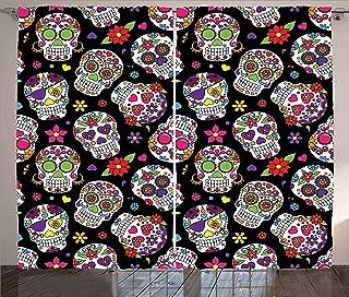 Ambesonne Sugar Skull Curtains, Graveyard Mexico Mask Design on Black Backdrop Print, Living Room Bedroom Window Drapes 2 Panel Set, 108
