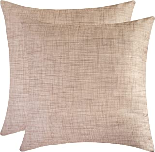 The White Petals Oatmeal Throw Pillow Covers for Sofa, Couch & Bed (16x16 inch, Pack of 2)