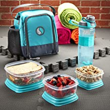 Fit & Fresh Meal Prep Starter Kit with Portion Control Containers and Jaxx Active Shaker Bottle