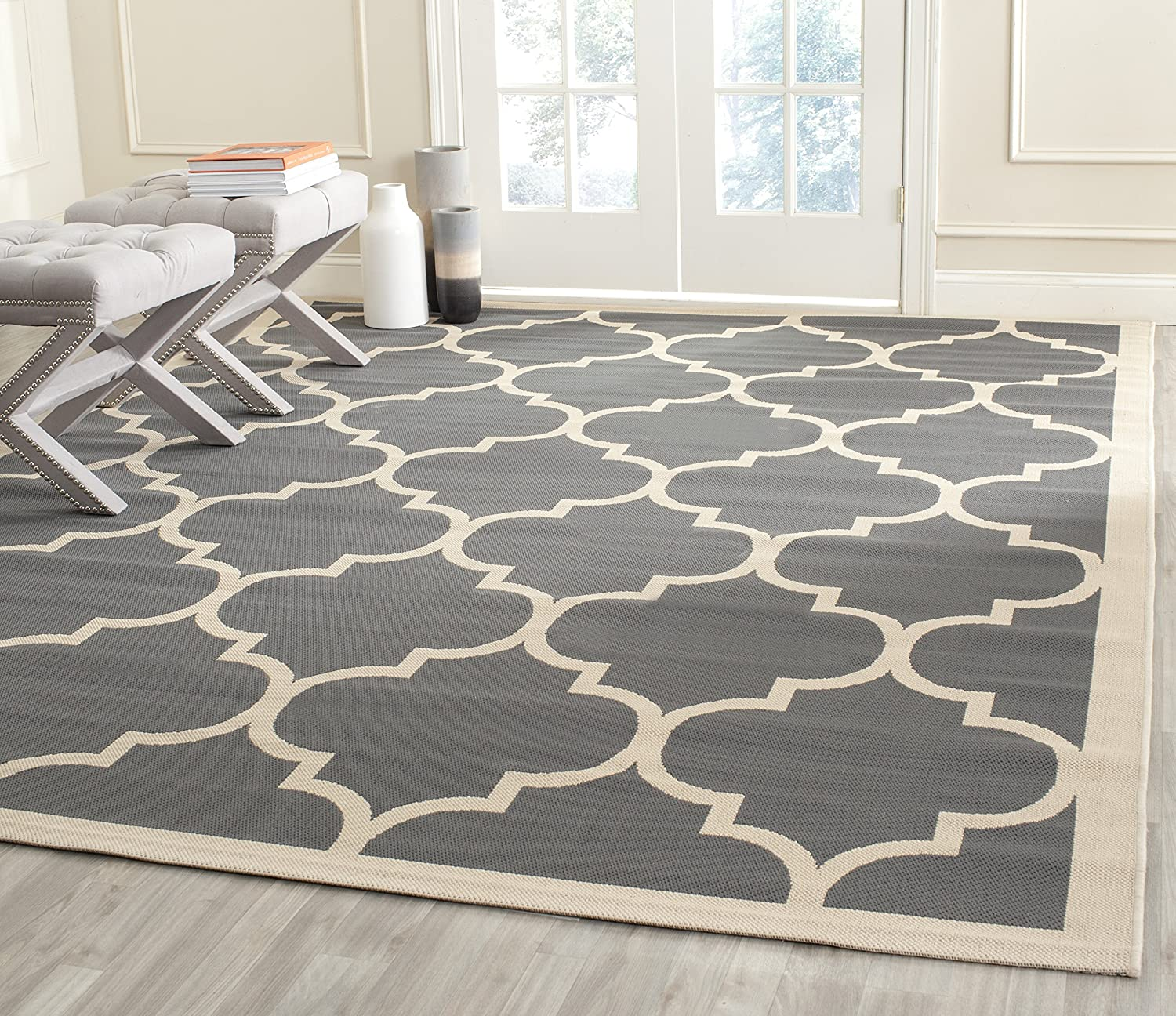 Safavieh Courtyard Collection CY6914-246 Anthracite and Beige Indoor  Outdoor Square Area Rug (7'10  Square)