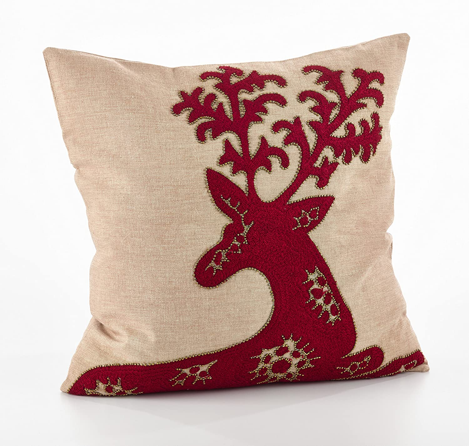 Fennco Styles Embroidered Deer Design Pillows  18  Square
