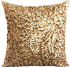 The HomeCentric Designer Cushion Covers, Decorative Cushion Covers 30 x 30 cm Gold, Silk Throw Pillow Cushion Covers, Hand...