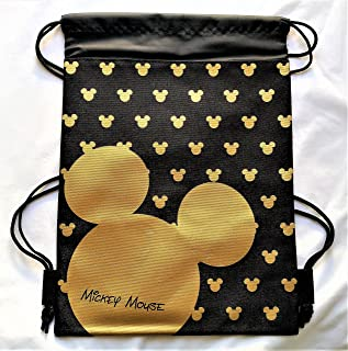 Drawstring Backpack Gym School Bag Authentic Licensed Disney PIXAR Nickelodeon (Mickey Gold)