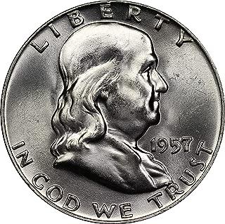 1957 U.S. Half Dollar 90% Silver Coin, Mint State Condition, Benjamin Franklin Design