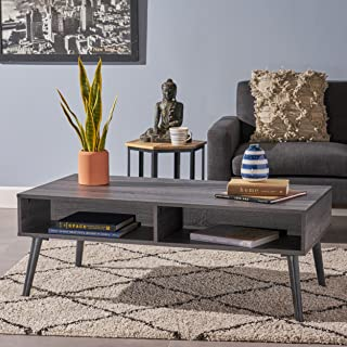 Christopher Knight Home Andy Mid Century Modern Fuax Wood Overlay Coffee Table, Grey Oak