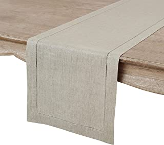 Solino Home Hemstitch Linen Table Runner - 14 x 132 Inch, Handcrafted from European Flax, Machine Washable Classic Hemstitch - Natural