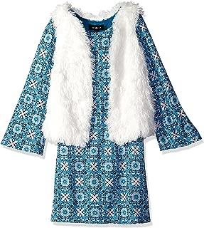 Big Girls' Long Sleeve Print Dress with Faux Fur Vest