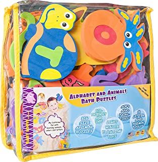 Foam Bath Toys 100% Non-Toxic Preschool Alphabet – Best Baby Bath Toys Toddlers Kids Girls Boys - Premium Educational Floating Bathtub Toys - Biggest Set Letters Animals (26 Puzzles - 52 Items)