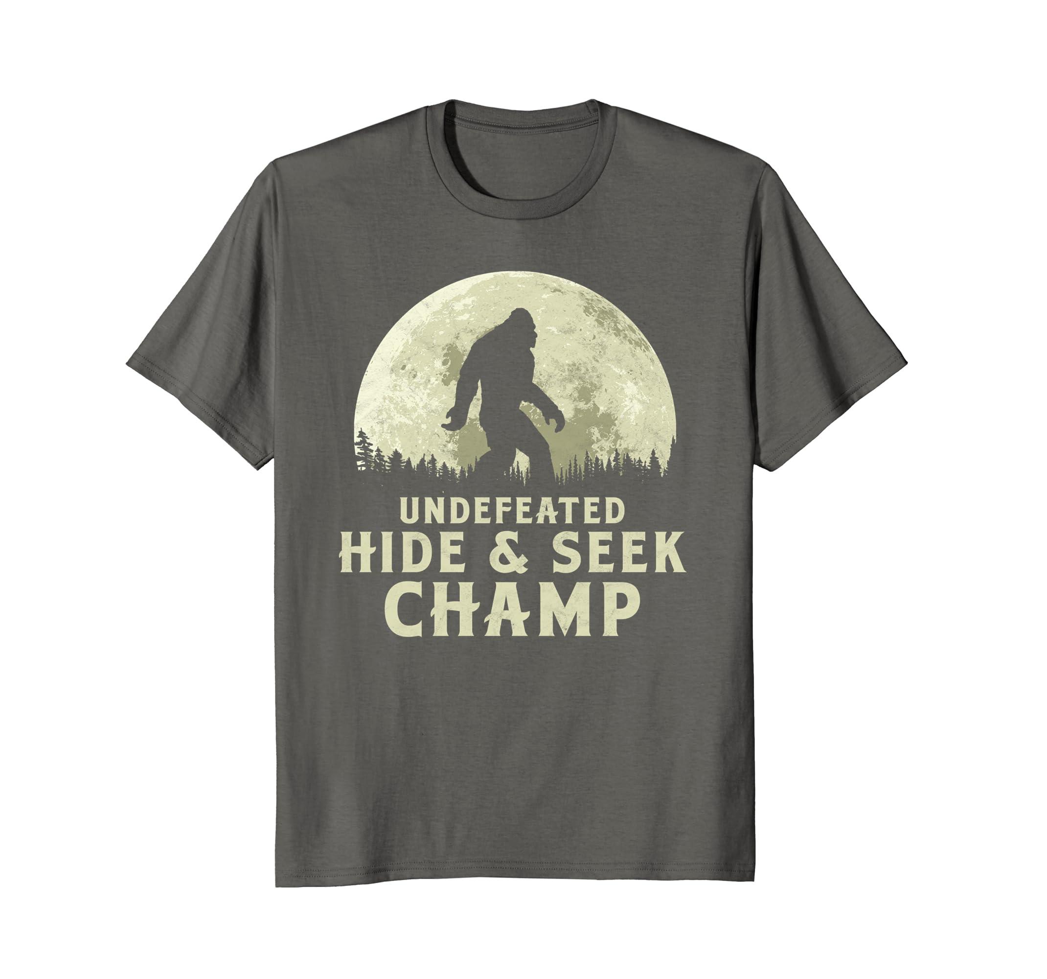 2dc5aea7 Amazon.com: Undefeated Hide & Seek Champ Bigfoot Moon T-Shirt - Believe!:  Clothing