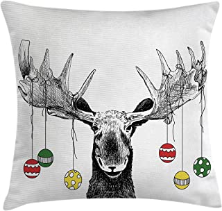 Ambesonne Moose Throw Pillow Cushion Cover, Christmas Moose with Xmas Ornaments Balls Hanging from Horns Funny Noel Sketch Art, Decorative Square Accent Pillow Case, 18