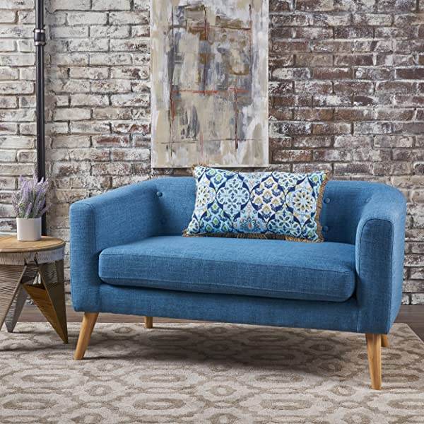 Christopher Knight Home 301293 Bron Yr AUR Button Back Mid Century Fabric Modern Loveseat Muted Blue