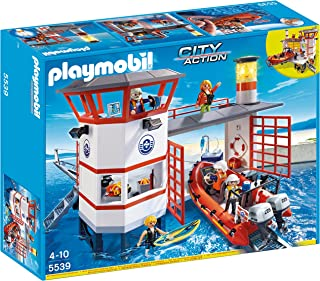 PLAYMOBIL Coast Guard Station with Lighthouse Play Set...