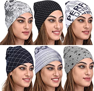 69GAL Women's Cotton Lycra Skull Cap (Multicolor_Free Size) (Pack of 6)