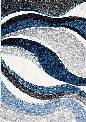 Safavieh Tapis Rectangulaire Moderne Graphique Tressé Collection Hollywood Gris/Bleu 79 x 152 cm
