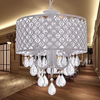 Crystal Chandeliers Hanging Pendant Home Lighting, 4-Light, Diameter 14 Inches, Adjustable Height, for Bedroom, Living Room, Dining Room, LED Bulbs Included for Free (Snow-White Finish)
