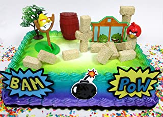 Cake Toppers Angry Birds Birthday Set Featuring Angry Birds Figures and Decorative Themed Accessories