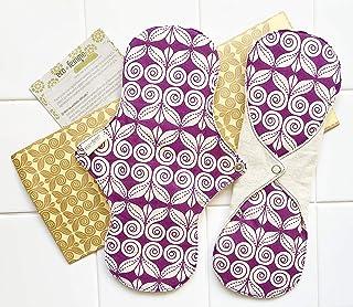 多い日用2枚セット 南インド「Eco Femme」布ナプキン 洗えるオーガニックコットン(肌面無漂白)防水あり・内側に6層のフランネル使用