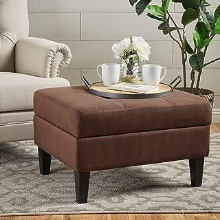 Christopher Knight Home Living Bridger Dark Cinnamon Fabric Storage Ottoman, Brown