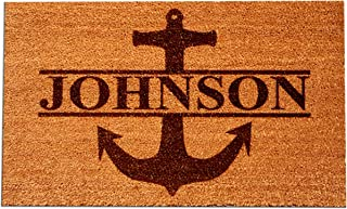"""Personalized [Your Name] Coir Fiber Laser Engraved Doormat 30"""" x 18"""" ANCHOR – CUSTOM"""