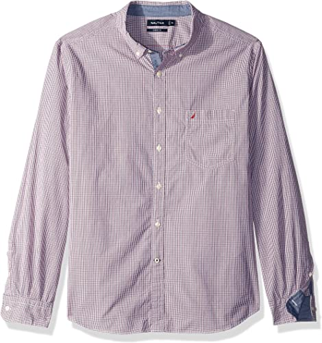 Nautica manche longue Micro Plaid Button Down Shirt Chemise boutonnée Homme