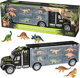 "Prextex 16"" Tractor Trailer Dinosaur Carrier STEM Dinosaur Toys with 6 Mini Plastic Dinosaurs"