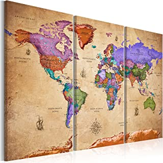 murando Impression sur Toile intissee Carte Monde Vintage 120x80 cm Tableau Tableaux Decoration Murale Photo Image Artisti...