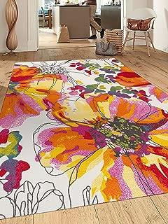 Modern Bright Flowers Non-Slip (Non-Skid) Area Rug 8 x 10 (7' 10