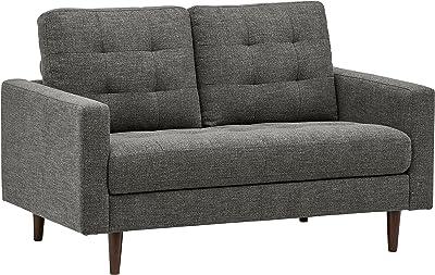 "Amazon Brand – Rivet Cove Mid-Century Modern Tufted Loveseat Sofa, 56""W, Dark Grey"