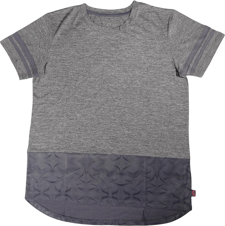 More Mile Marl Girls Short Sleeve Running Top - Grey