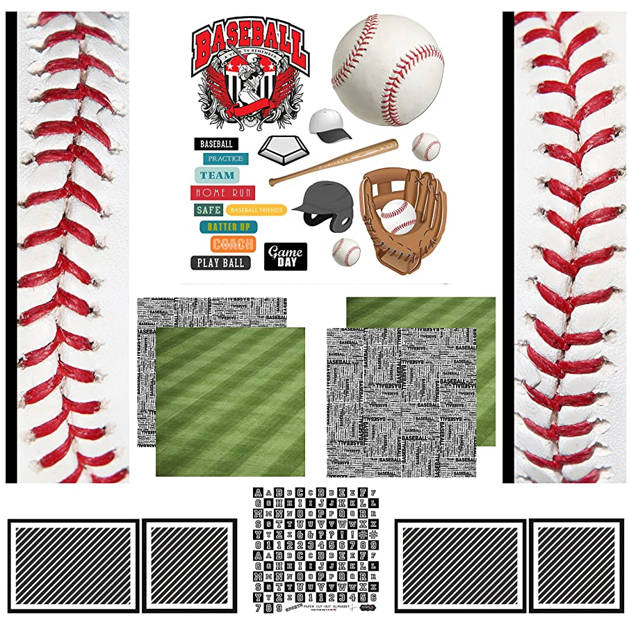 Scrapbook Customs Themed Scrapbook Kit, Baseball Sport Paper